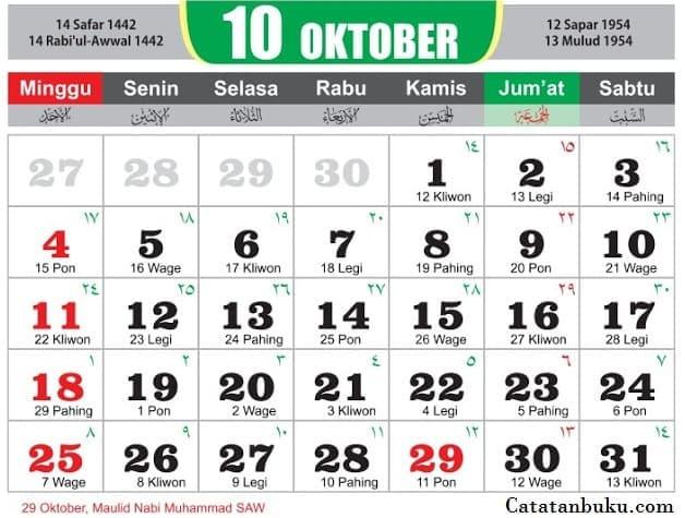 Kalender Bulan Oktober 2020 Lengkap Jawa Dan Nasional 7belas Com